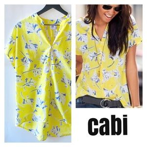 Cabi yellow floral short sleeve blouse nwot M
